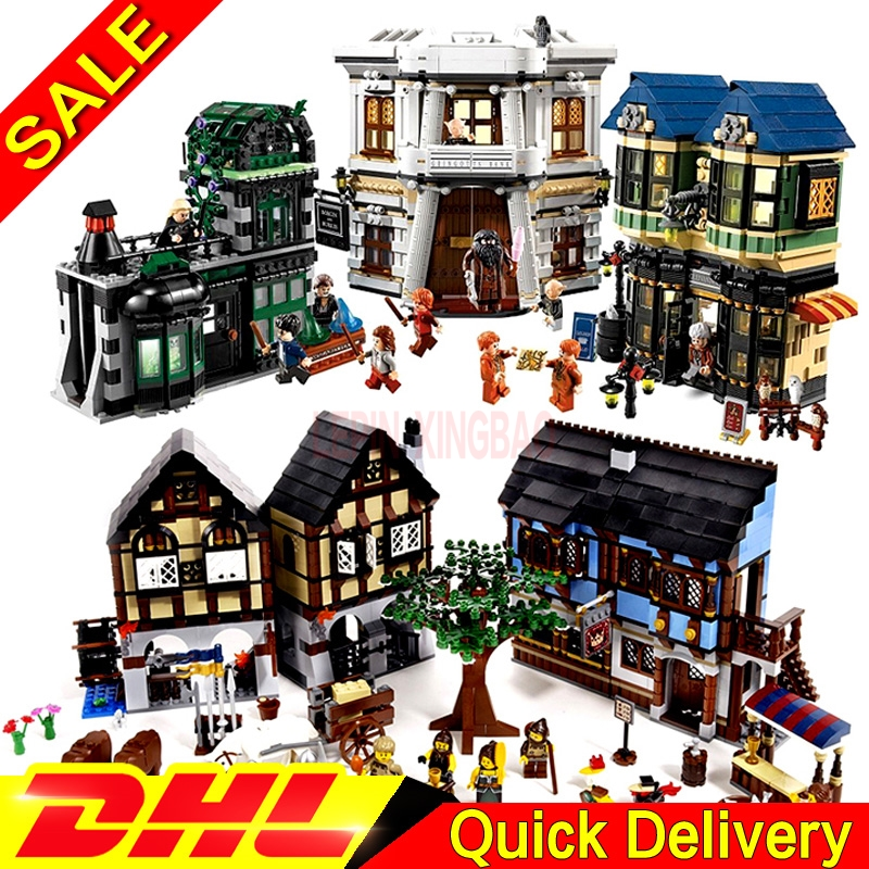 LP 16011 Medieval Manor Castle + LP 16012 The Diagon Alley Model Building Blocks For Children Legaoings Toys Clone 10193 10217