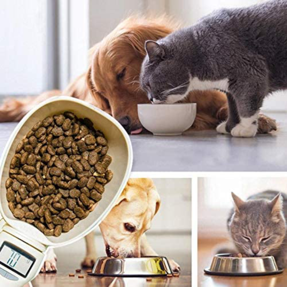 800g/1g Pet Food Scoop Measuring Cup Detachable Cat Feeding Bowl Digital Scale Spoon Portable Kitchen Scale with LCD Display