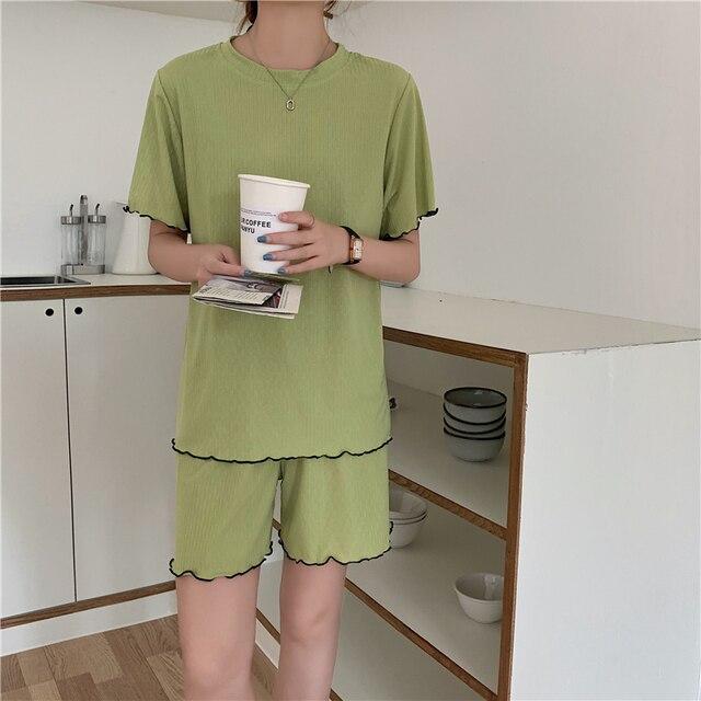 2 Piece Sets Womens Outfits Spring Women t-Shirt short Sleeve High Waist shorts Wide Leg Womens Trousers Two Piece Set Office 4