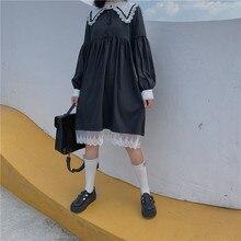 Mujeres japonesas Kawaii vestido Harajuku gótico lindo encaje vestidos Vintage marinero cuello Jk uniforme dulce princesa vestido de fiesta negro