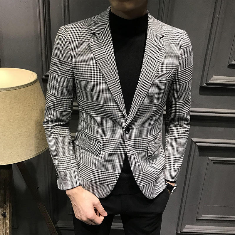 2019 Plaid Blazers Mens Khaki Blazer Homme Slim Fit Business Veste Homme Costume Mens Office Check Jacket Vestidos De Novia