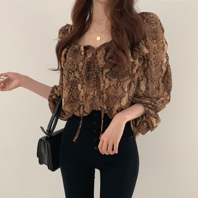 woherb sexy crop blouse Women Puff Sleeve snake print Elegant Lace Up summer thin blusas shirt 2021 korean Chic Female Shirts 5