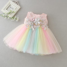 Apliques bebê Formais Princesa Vestidos para a Menina Rainbow Tulle Vestido de Festa de Aniversário Infantil Vestido Da Menina Do Bebê Roupas 3-24M
