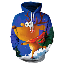 3D Elk Sweatshirt Men Christmas Men Women Long Sleeve Pullover Cartoon Santa Claus Printed Tops Fashion Xmas Men Hoodies santa claus 3d printed christmas sweatshirt