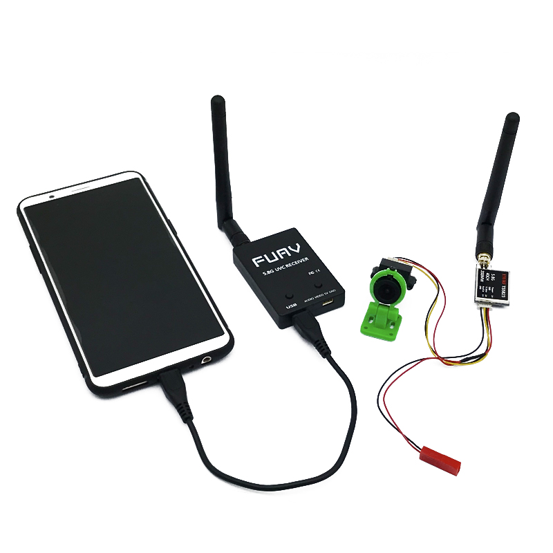 Easy to use 5.8G <font><b>FPV</b></font> Receiver UVC Video Downlink OTG VR Android Phone+Video 200/600mw Transmitter <font><b>TS5823</b></font>+CMOS 1000TVL Camera image