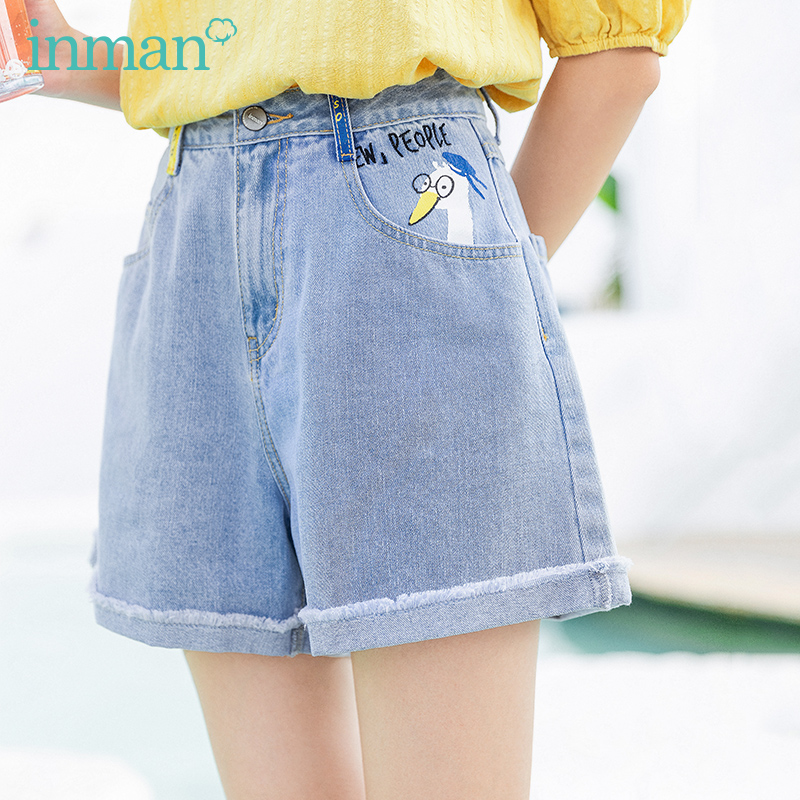 INMAN 2020 Summer New Arrival Duck Print Cotton Material Vitality Fashion Loose Shorts Jeans
