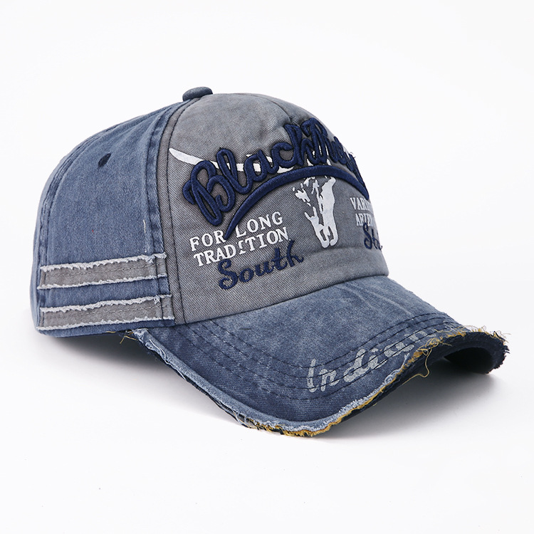 Image 2 - Hot Selling Letter Embroidery for Old Bullhead Baseball Cap Locomotive Washing Male and Female Duck Tongue Cap