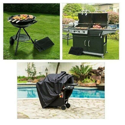 Black Waterproof BBQ Cover Outdoor Rain Grill Barbacoa Anti Dust Protector For Gas Charcoal Electric Barbe Garden Furniture