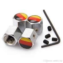 1 Set Pppular Anti Theft Lock Fahrzeug Auto Rad Reifen Ventil Stem Luft Kappen mit Deutschland Flagge chrom