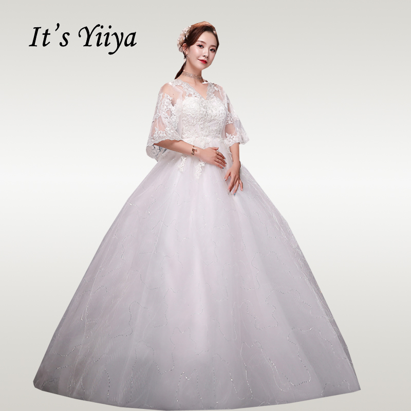It's YiiYa Wedding Dresses 2020 Embroidery Lace Wedding Dress For Pregnant Women Plus Size Half Sleeve Vestido De Novia XXN247