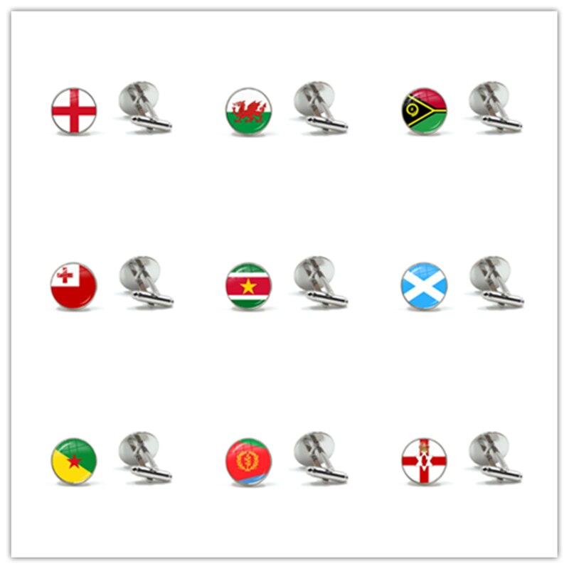 Ireland, Wales, Vanuatu, Tonga, Suriname, Scotland, French Guiana, Eritrea, Northern Ireland National Flag Glass Cufflinks Gift