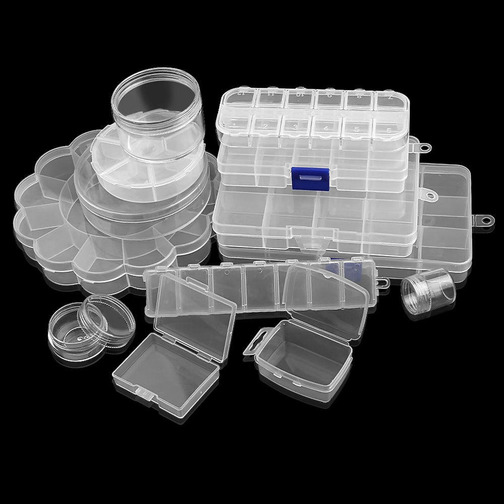 Plastic Storage Jewelry Box Compartment Adjustable Container For Beads Earring Box For Jewelry Rectangle Box Case