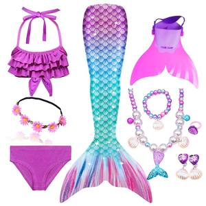 Image 3 - Girls Swimming Mermaid Tail Cosplay Mermaid Costume Swimsuit With or No Monofin Fin Flipper Kids Swimmable Children Swimwear Set