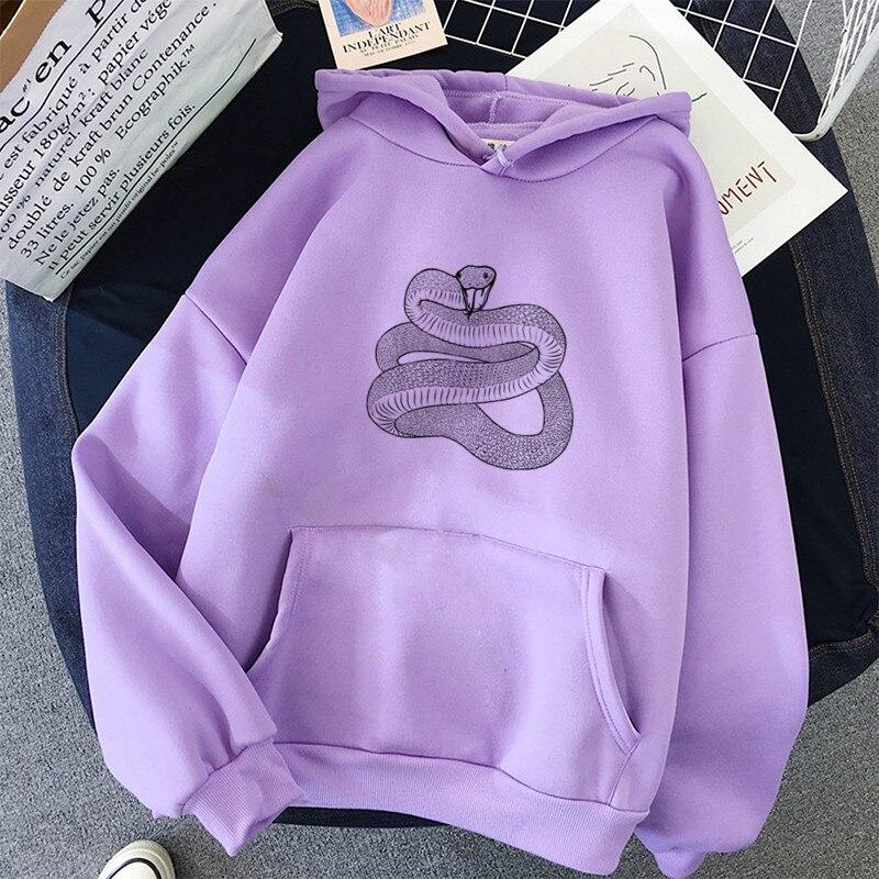 Vintage Black Snake Print Sweatshirts Women Hoodies Winter Streetwear Tops Loose Long Sleeve Sweatshirt Ladies Oversized Hoodied 1