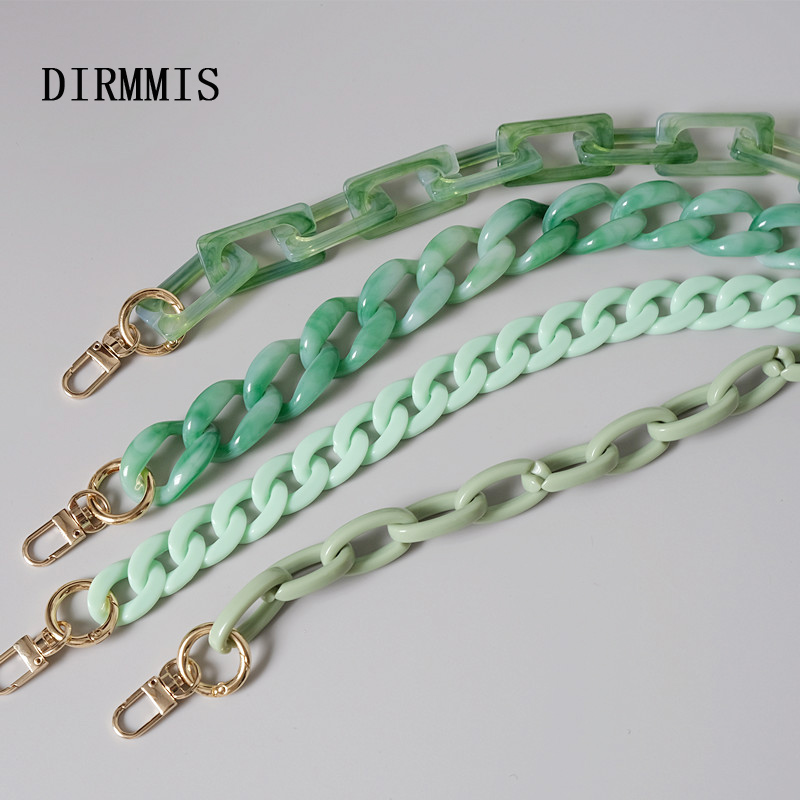 New Fashion Woman Handbag Accessory Parts Cute Chain Green Acrylic Resin Chain Luxury Strap Women Shoulder Clutch Handle Chain