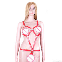 Adult Products Leather Punk Gothic Belt Straight Fetish Top Women Open Bust Straitjacket Sex Toys For Couple Roleplay Toys(China)