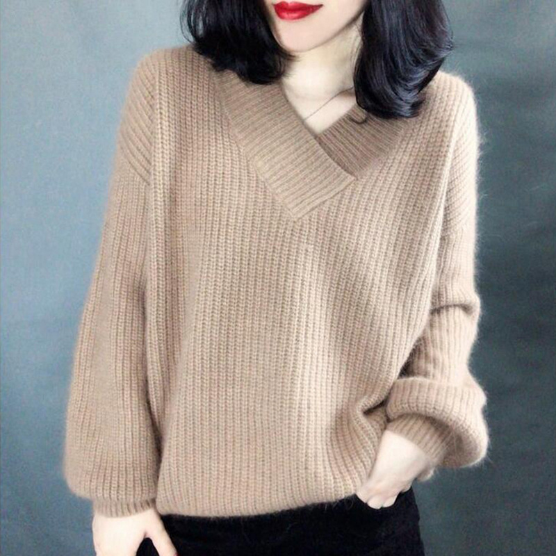 Women Solid Loose Pullovers V Neck Kahaki Lantern Sleeve Female Sweater 2020 Winter Autumn Casual Pull Jumpers Jersey Mujer