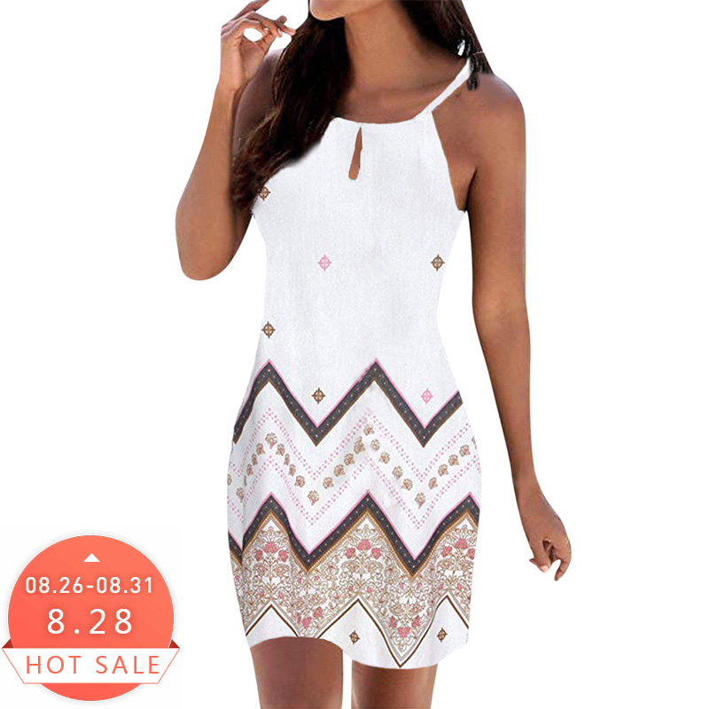Women Halter Neck Boho Print Sleeveless Casual Mini Beachwear Dress Sundress Vestidos De Verano Summer Dress 2019 Vestidos Dress