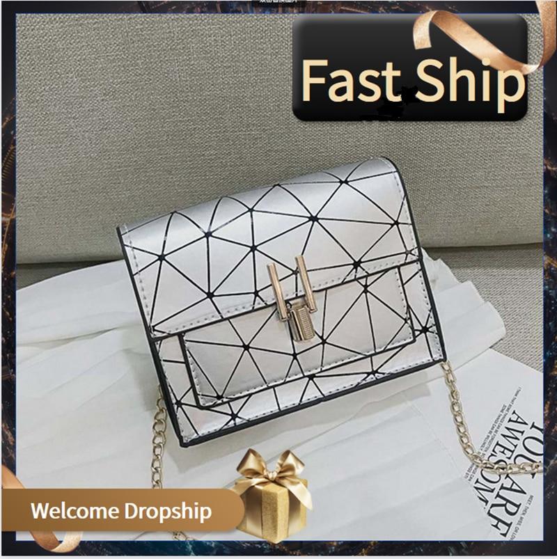 New Korean Version Shoulder Bags Women Geometric Messenger Bag 2020 Summer Chain Handbag Wild Crack Printing Brand Shoulder Pack