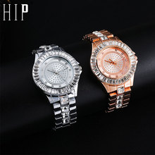 Hip Hop Iced Out Watches Luxury Mens Date Quartz Wrist With Micropave CZ Alloy Watch For Women Men Jewelry
