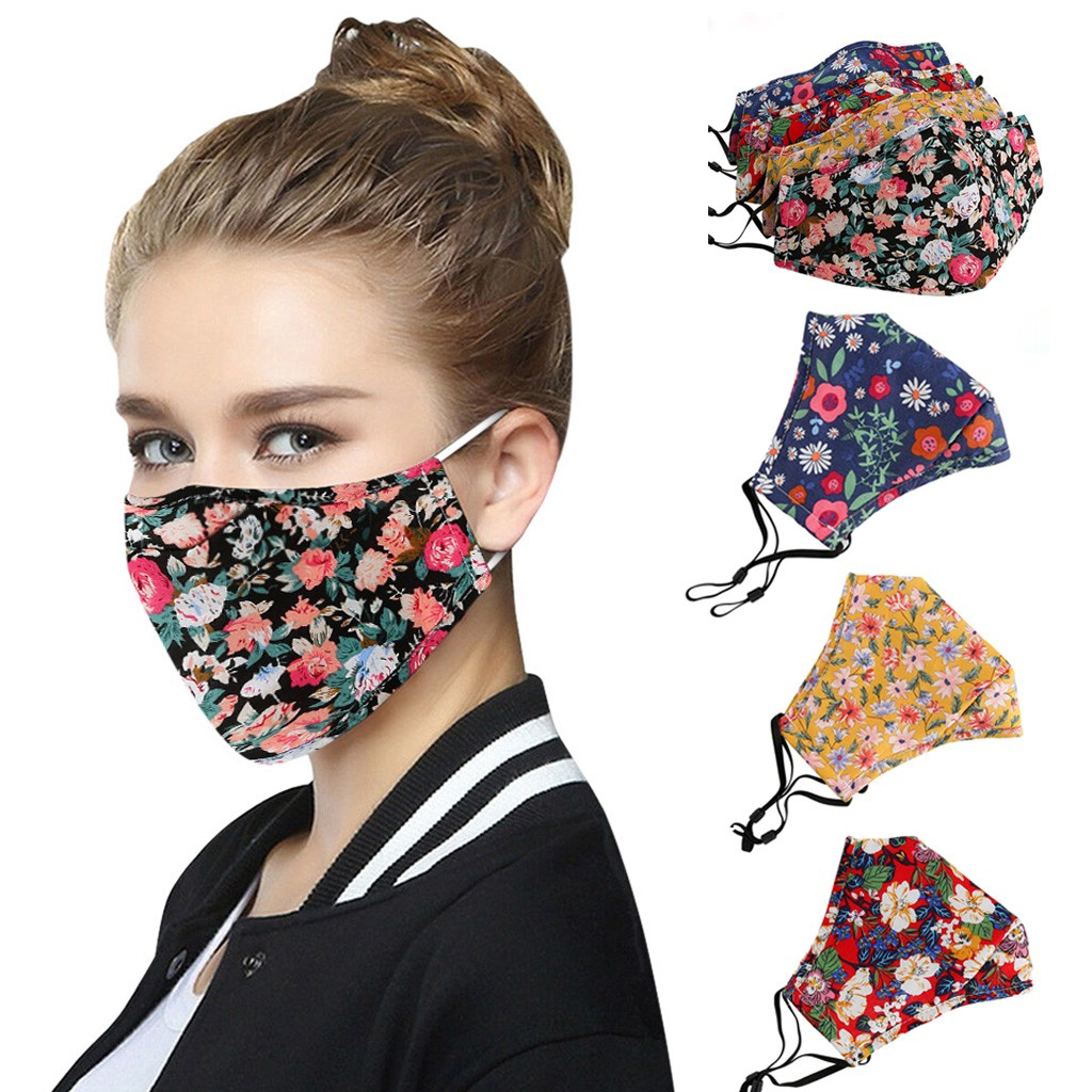 Women Men Face Maske Reusable Respirator Flowers Print Face Maske Dustproof PM2.5 Washable Mouth Muffle Adjustable Maske Cover