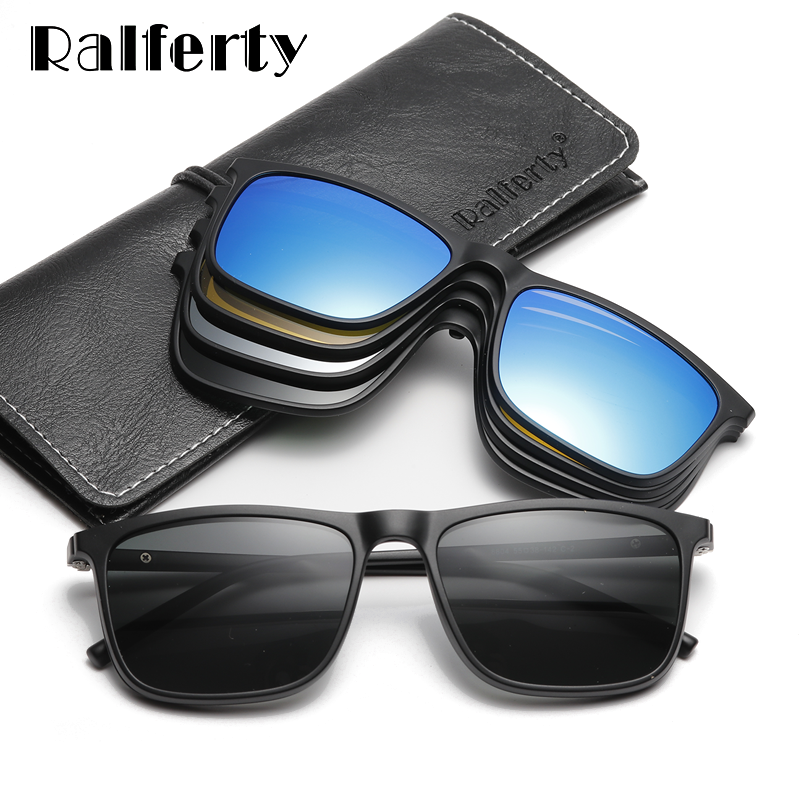 Ralferty Magnetic Sunglasses Polarized-Clip Ultra-Light Night-Vision Square Men A8804