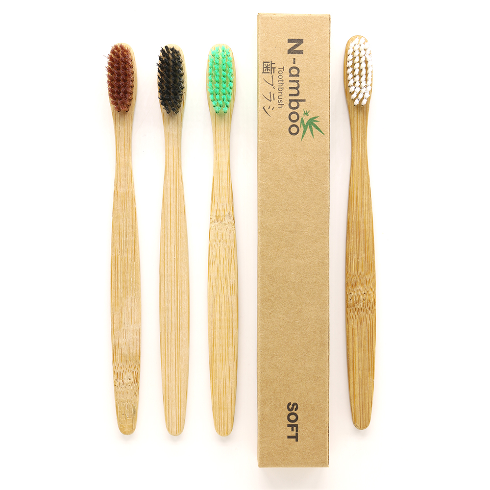 4 Pieces/lot Mixed Color Crown Environmentally Wood Toothbrush Novelty Bamboo Toothbrush Soft-Bristle Capitellum Bamboo Fibre image