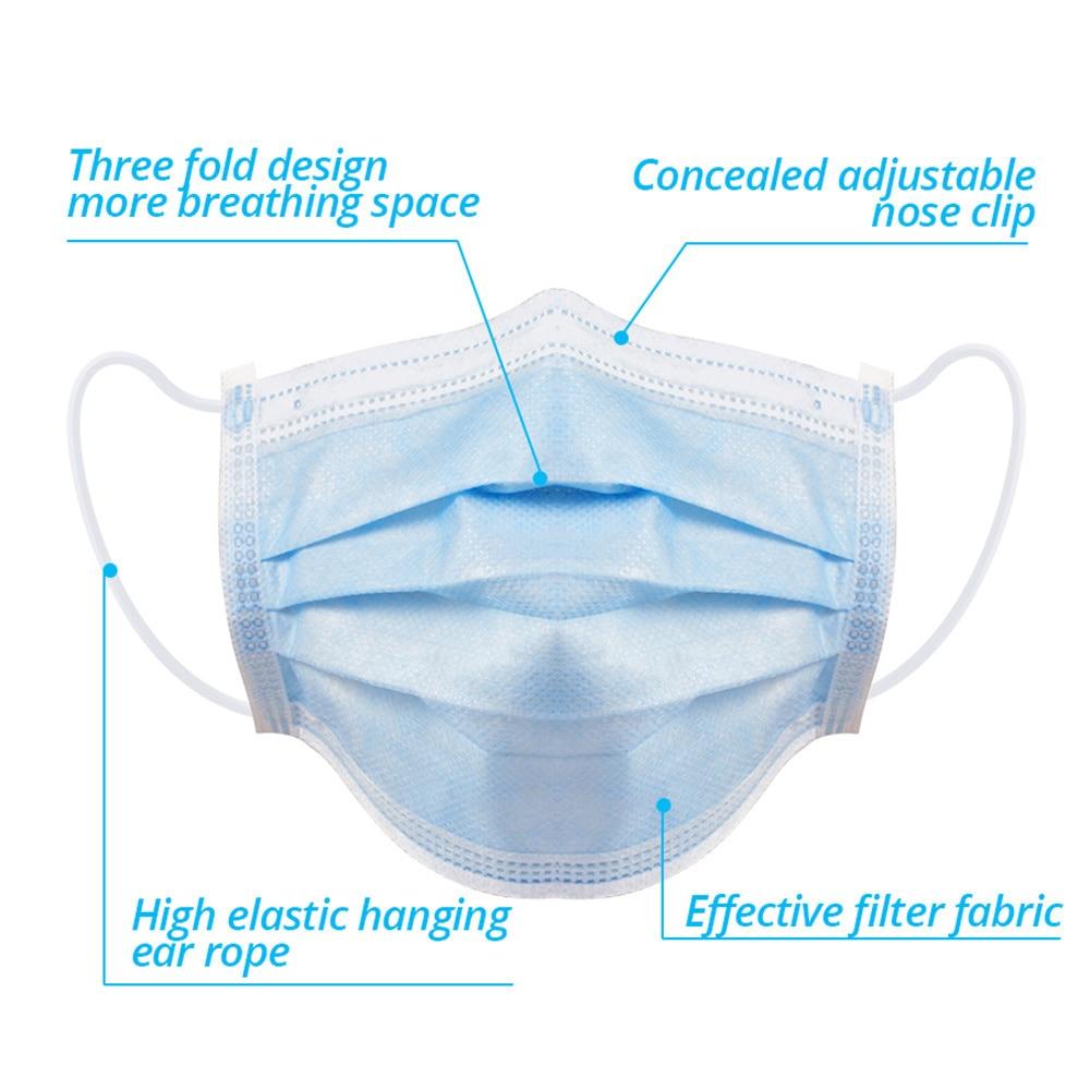 10-300 Pcs Mask Disposable Mondmasker Earloop Face Mouth Masks Mouth Mask Non-woven Melt Blown Three Layer Mascarilla Mascarilas 4
