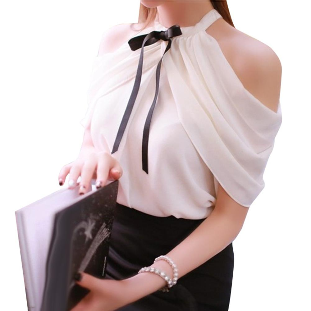 Elegant Women Off Shoulder Halter Neck Bowknot Chiffon Blouse Shirt 2020 New Fashion Womens Top And Blouses