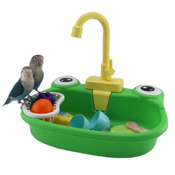 1 sztuk oczko wodne wanna z kranem śmieszne automatyczne papugi domowe basen prysznic mycie narzędzia oczko wodne wanna tanie i dobre opinie CN (pochodzenie) Z tworzywa sztucznego