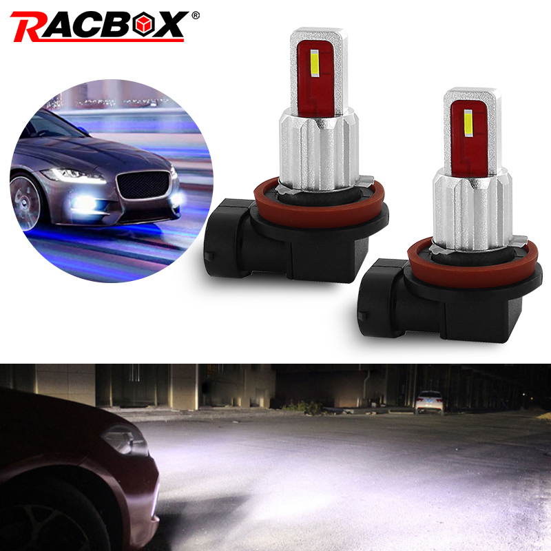 Racbox 2pcs H1 <font><b>H7</b></font> H8 H11 HB3 9005 HB4 9006 Car LED Fog light Bulbs <font><b>2000LM</b></font> DRL 6000k White Yellow auto Driving Light 12V 24V image
