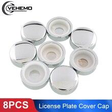 8 pces prata chrome fixadores tampões moldura da placa de licença carro auto caminhão parafuso porca