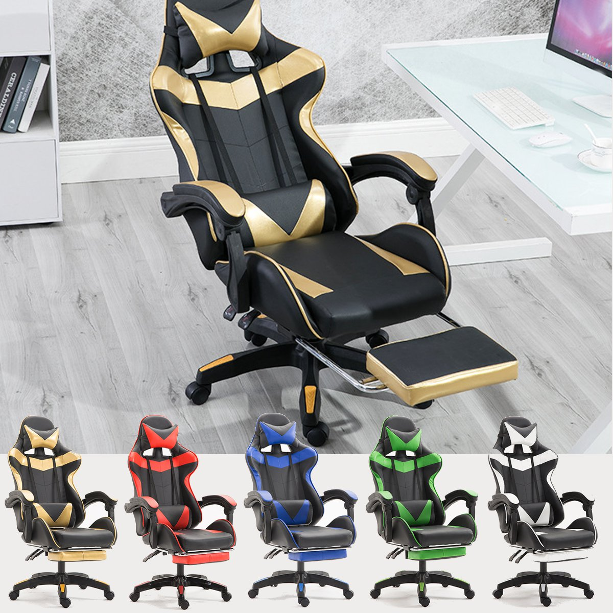 PU Leather Racing Gaming Chair Office High Back Ergonomic Recliner With Footrest Professional Computer Chair Furniture 5 Colors