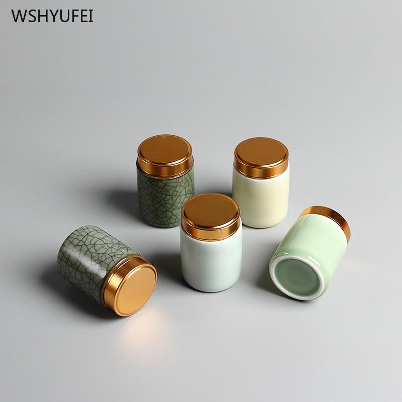 סלדון מתכת בורג כובע מיני תה יכול קטן נוח נסיעות מלון קטן סיר תה תיבת קרמיקה אבקת סומק שפתון אחסון טנק