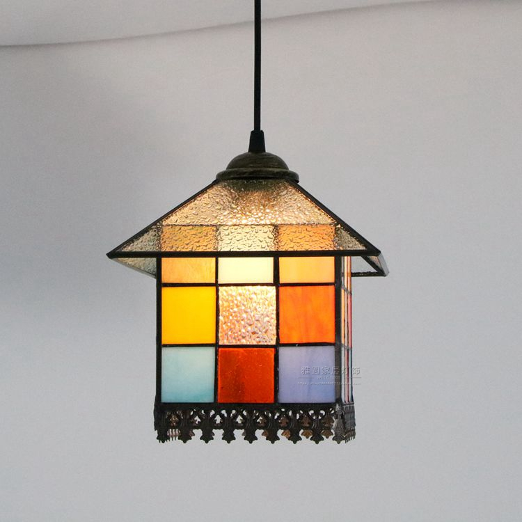 Modern Tiffany Baroque Stained Glass Suspended Luminaire E27 LED Iron Chain Pendant Light Lamp for Home Parlor Dining Room - 2