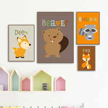 Squirrel Fox Deer Raccoon Cartoon Wall Art Print Canvas Painting  Nordic Posters And Prints Pictures Baby Kids Room