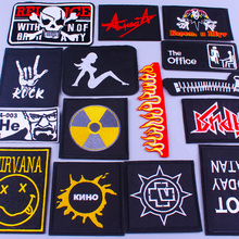 Pulaqi Military Skull Patch Rock Band Hippie Patches Embroidered Iron On Patches For Clothes Jacket Fabric Applique Punk Badges big punk skull patch iron biker morale wings back patch badge large embroidery patches for clothes jacket jeans applique nl210