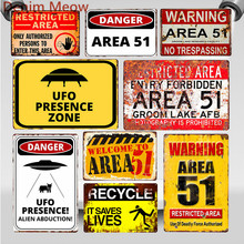 Área de advertencia 51 Vintage Metal estaño señal UFO área de actividad precaución peligro pared placa arte Retro pintura pegatinas decoración del hogar WY80