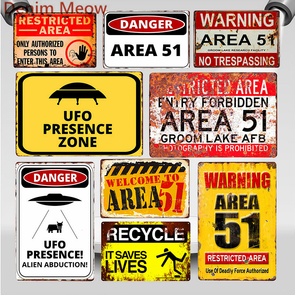 Warning Area 51 Vintage Metal Tin Sign UFO Activity Area Caution Danger Wall Plaque Retro Art Painting Stickers Home Decor WY80