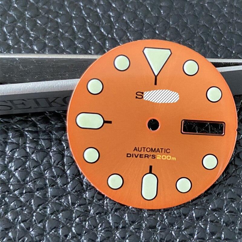 Watch Parts 28.5mm Enamel Orange Dial Luminous Marks Suitable For Japan NH36A Automatic Movement