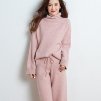 2019 autumn and winter new pure cashmere suit female turtleneck sweater two piece fashion loose knitted wool wide leg pants