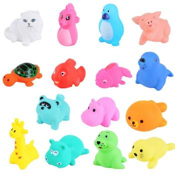 13 Pcs Cute Animals Swimming Water Toys Colorful Soft Rubber Float Squeeze Sound Squeaky Bathing Toy For Baby Bath Toys GYH 2