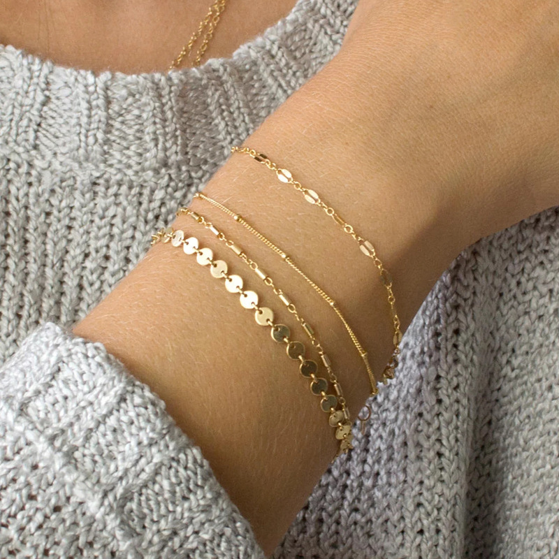 4 Pcs/set BOHO Multilayer Paillette Bangles Gold <font><b>Silver</b></font> color <font><b>Tube</b></font> Lace Satellite Chain <font><b>Bracelets</b></font> for Women Foot Chain Jewelry image