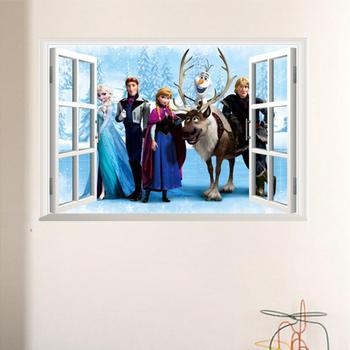 Cartoon Princess Elsa Wall Stickers for Kids Rooms Girls Bedroom Poster Vinyl DIY Mural Art Adesivo de parede Decal Baby Nursery 11