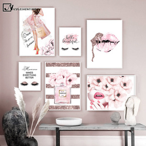 Pink Flower Perfume Fashion Poster Eyelash Lips Makeup Print Canvas Art Painting Wall Picture Modern Girl Room Home Decoration(China)