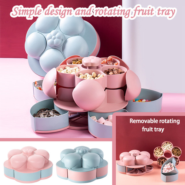 40# Double Layer Candy And Dried Fruit Plate Specialty Plates For Home Decor Creative Rotating Design Dessert Plate Декор Дома