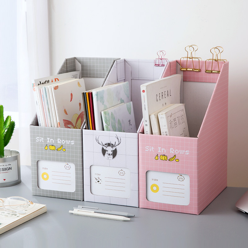 High Capacity Paper Board  Storage Box Student Creative Cute Pen Holder Desktop Decoration Boxes Organizer  School Office Supply