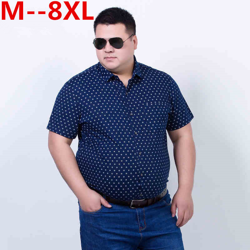 10XL 8XL 6XL Summer Brand 100% Cotton Loose Fit Casual Shirts Short Sleeve Fashion Men Dress Shirts Social Camisa Chemise Homme