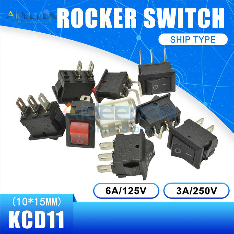 KCD11 10x15mm Interruttore di Pulsante Snap-in On-Off 2 Lime 3 Lime 2/3 di Rame piedi Barca Rocker Switch 10MM * 15 MILLIMETRI 6A/125V 3A/250V