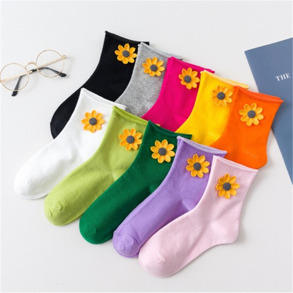 New Autumn Winter Sunflower Candy Color Curling Stocks Woman Socks New Fashion Socks Female Cute  Pile Of Socks Rolled Socks